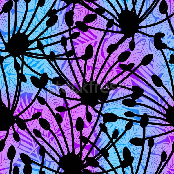 Sziluett trópusi virágmintás végtelen minta tengerpart textúra Stock fotó © adamfaheydesigns
