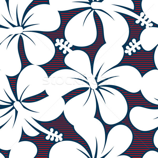 Stock photo: Red white and blue hibiscus lines seamless pattern