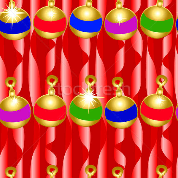 Christmas bauble and ribbons seamless pattern Stock photo © adamfaheydesigns