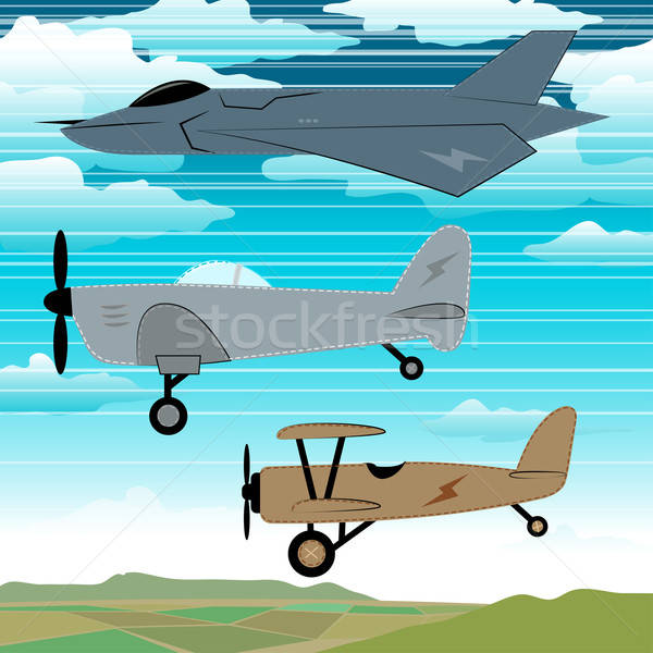 Militar aviones vuelo junto nubes bordado Foto stock © adamfaheydesigns