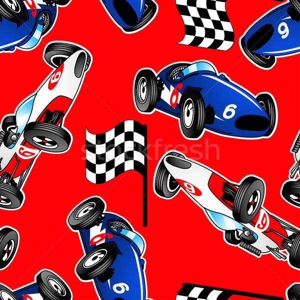 Piros fehér kék versenyzés autók végtelen minta Stock fotó © adamfaheydesigns