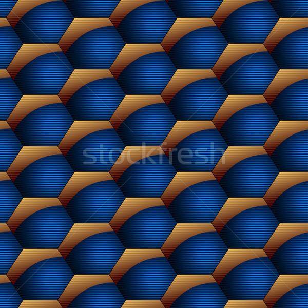 Abstrato hexágono listrado homens azul Foto stock © adamfaheydesigns