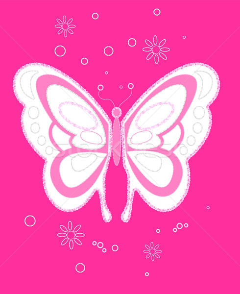 Sequin butterfly embroidery on pink background Stock photo © adamfaheydesigns
