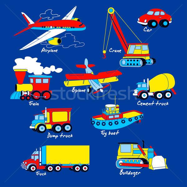Stock photo: Transport illustration set on blue background