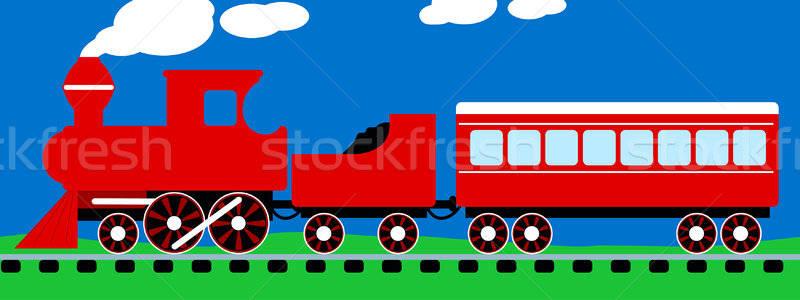 かわいい 単純な 赤 蒸気 列車 レール ストックフォト © adamfaheydesigns