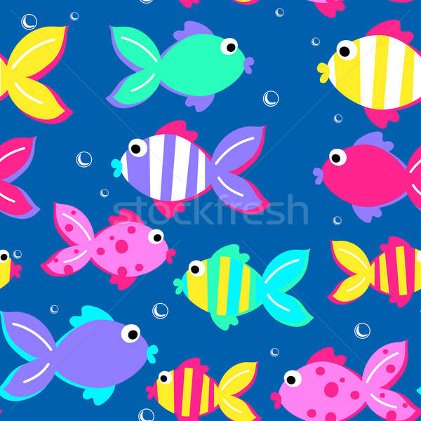 Little tropical fish swimming seamless pattern Stock photo © adamfaheydesigns
