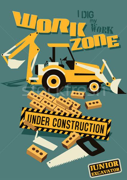 Trabalhar construção distintivo bordado Foto stock © adamfaheydesigns