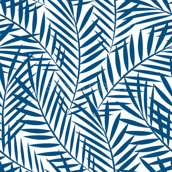 Tropical blue palm tree leaves in a seamless pattern Stock photo © adamfaheydesigns