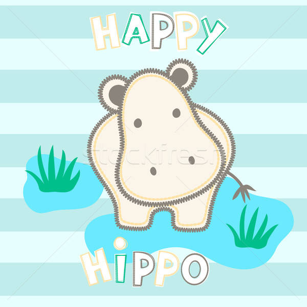 Happy hippo standing in water with stripes Stock photo © adamfaheydesigns