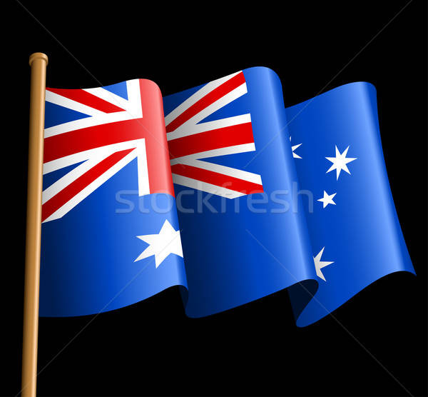 Australian flag illustration on a black background Stock photo © adamfaheydesigns