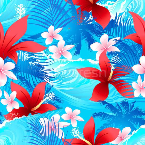 Tropicales rojo hibisco flores surf ola Foto stock © adamfaheydesigns