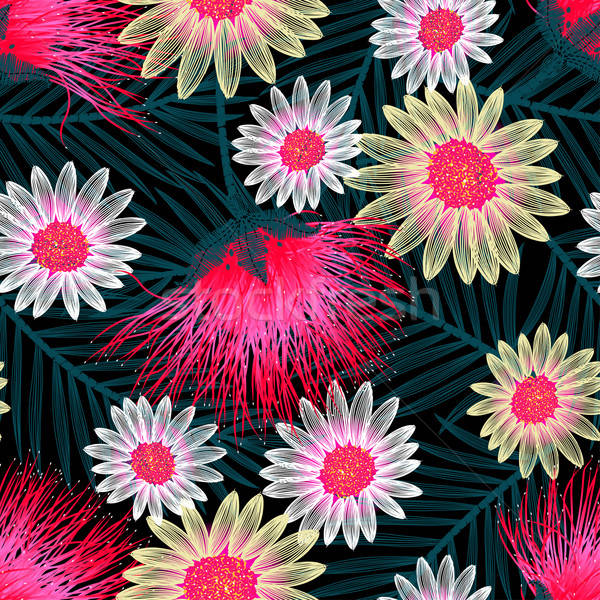 Színes kunyhó virágmintás hímzés végtelen minta virág Stock fotó © adamfaheydesigns