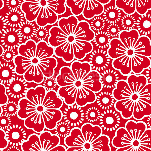 Red and white graphic hibiscus floral seamless pattern Stock photo © adamfaheydesigns