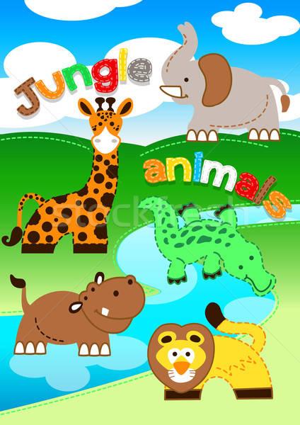 Aranyos dzsungel állatok áll folyó gyerekek Stock fotó © adamfaheydesigns