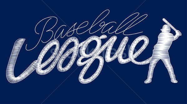 White baseball league embroidery stitching text with player Stock photo © adamfaheydesigns