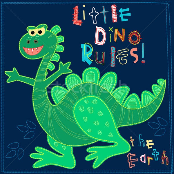 Little Dino rules the Earth embroidery character Stock photo © adamfaheydesigns