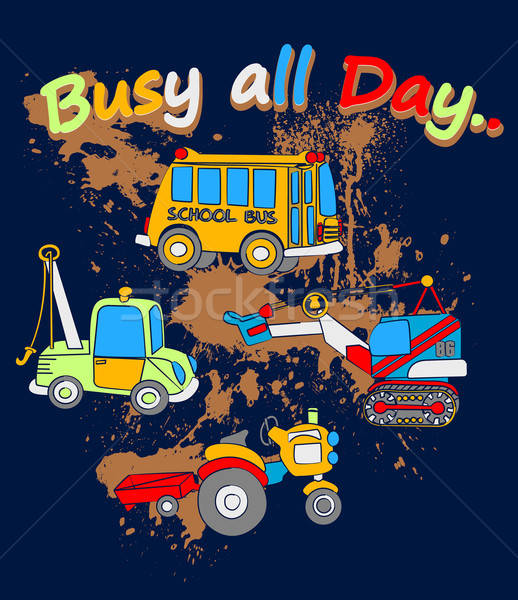 Busy all day childrens work vehicles on a muddy background Stock photo © adamfaheydesigns