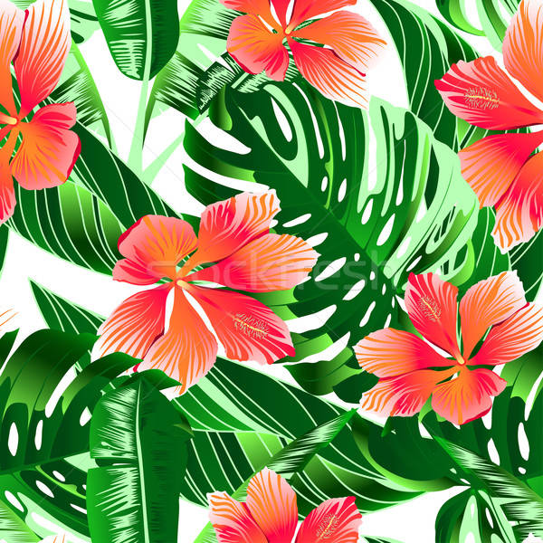 Tropical orange and pink hibiscus flowers seamless pattern Stock photo © adamfaheydesigns