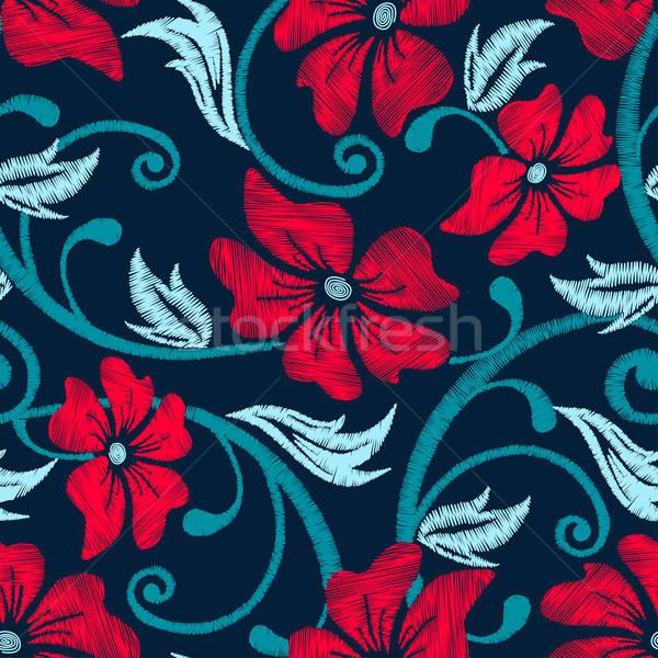 Piros hibiszkusz trópusi hímzés virágmintás végtelen minta Stock fotó © adamfaheydesigns