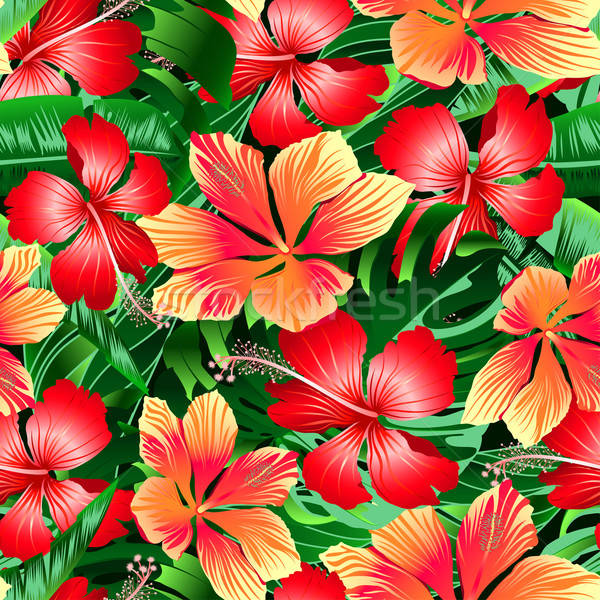 Stock photo: Tropical orange and red variegated hibiscus flowers seamless pat