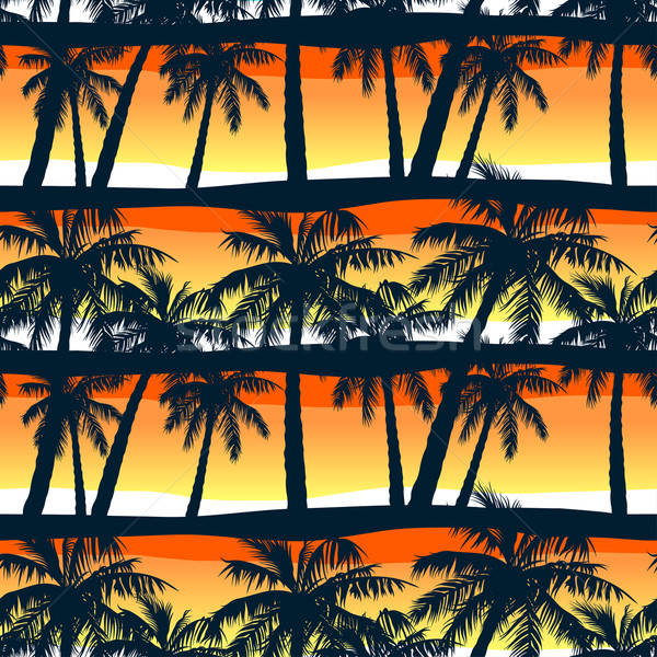 Tropical palms trees at sunset in a seamless pattern Stock photo © adamfaheydesigns