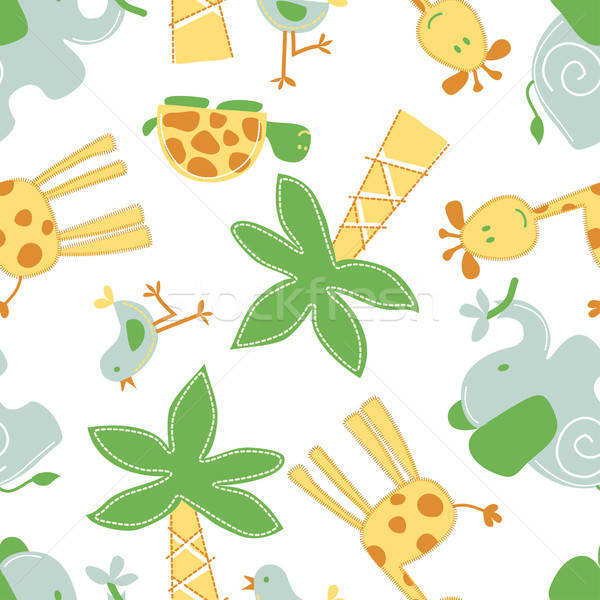 Aranyos dzsungel állatok végtelen minta fa pálmafa Stock fotó © adamfaheydesigns