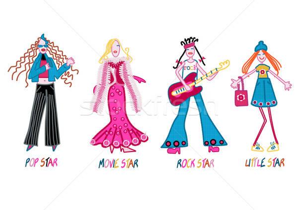 Meninas pop estrela filme estrela do rock pequeno Foto stock © adamfaheydesigns