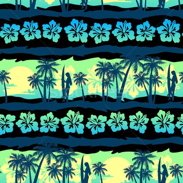 Trópusi zöld napfelkelte végtelen minta virág naplemente Stock fotó © adamfaheydesigns