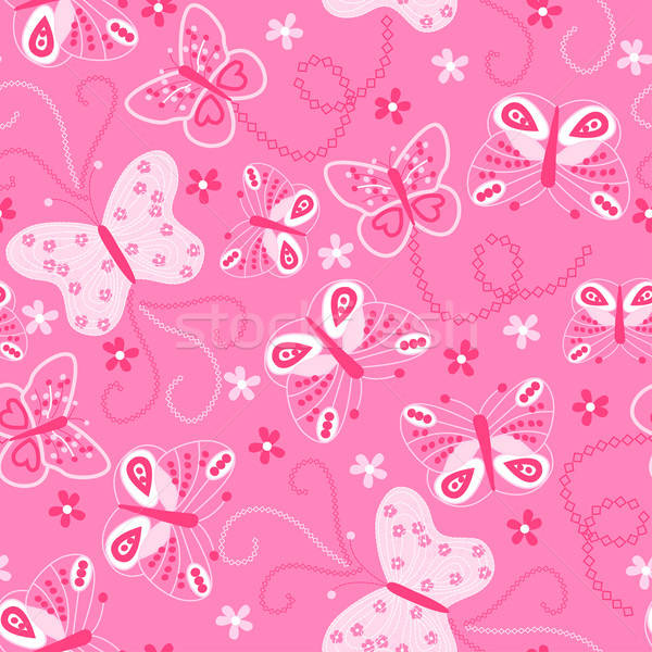 Butterfly embroidery seamless pattern Stock photo © adamfaheydesigns