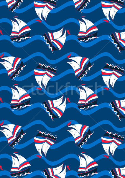 Sailing boats on waves in a repeat pattern Stock photo © adamfaheydesigns