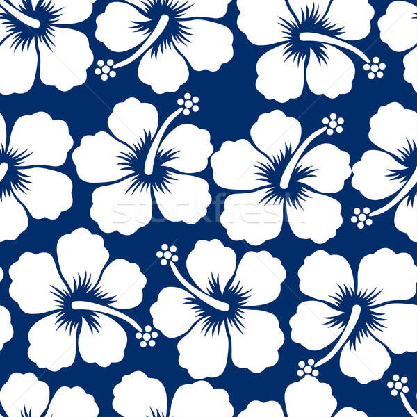 Graphic white tropical hibiscus flowers seamless pattern Stock photo © adamfaheydesigns