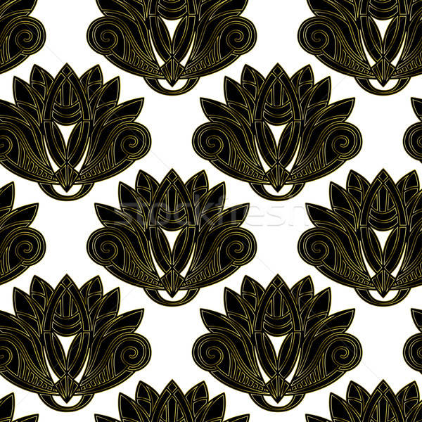 Gold and black floral emblem design seamless pattern Stock photo © adamfaheydesigns