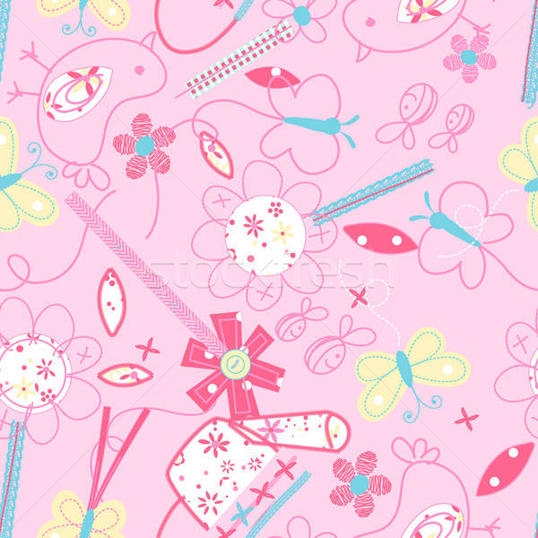 Cute birds and flowers seamless pattern Stock photo © adamfaheydesigns