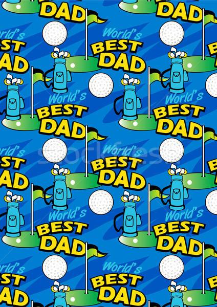 Worlds Best Golf Dad repeating pattern Stock photo © adamfaheydesigns