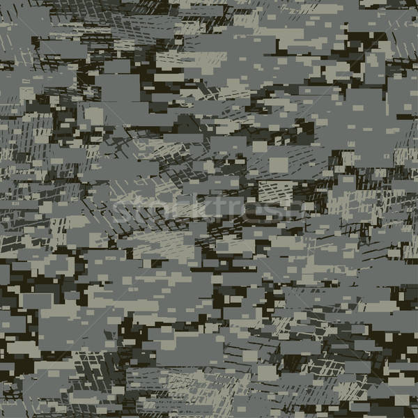 Camouflage urban disruptive block khaki seamless pattern Stock photo © adamfaheydesigns
