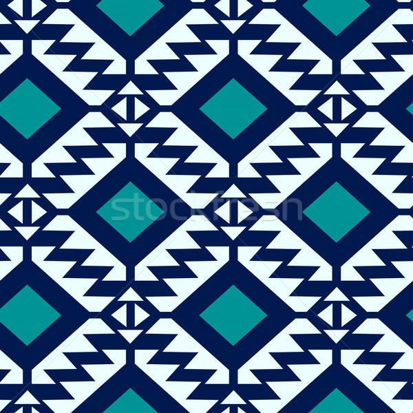 Kabile mavi turkuaz geometrik moda Stok fotoğraf © adamfaheydesigns