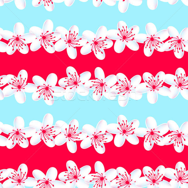 Red and Blue tropical frangipani seamless pattern Stock photo © adamfaheydesigns