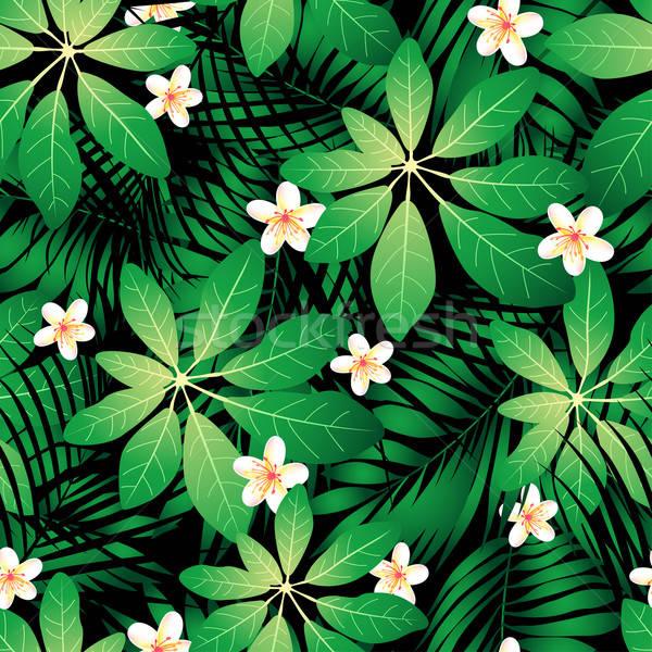 Trópusi végtelen minta pálmalevelek virág Stock fotó © adamfaheydesigns