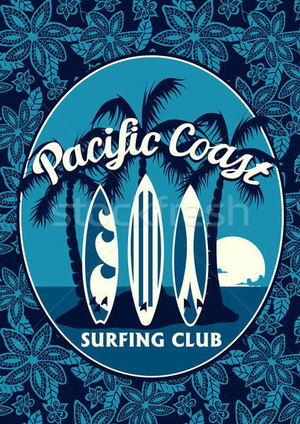 Trópusi szörfözik klub poszter pálmafák szörfdeszkák Stock fotó © adamfaheydesigns