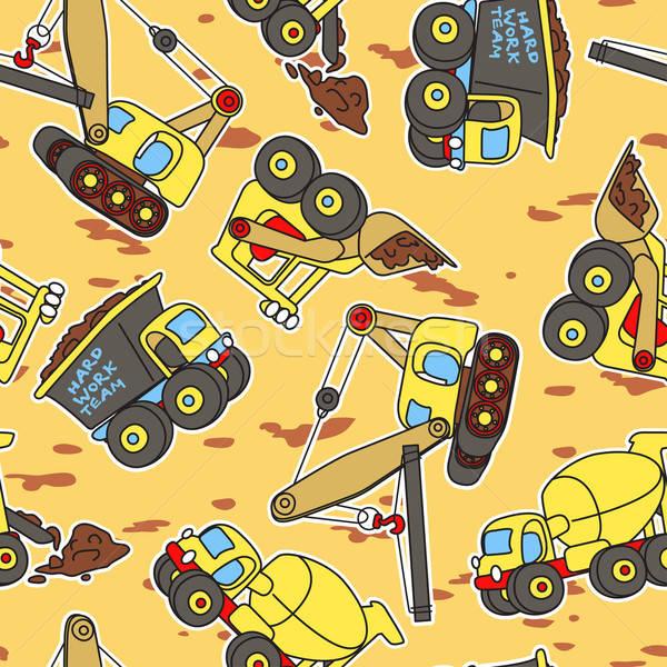 Kemény munka csapat végtelen minta teherautó cső citromsárga Stock fotó © adamfaheydesigns