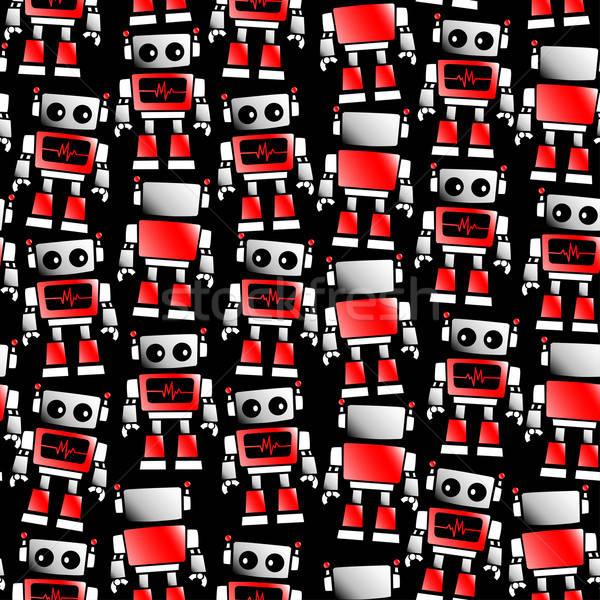 Kicsi piros fehér robot végtelen minta absztrakt Stock fotó © adamfaheydesigns