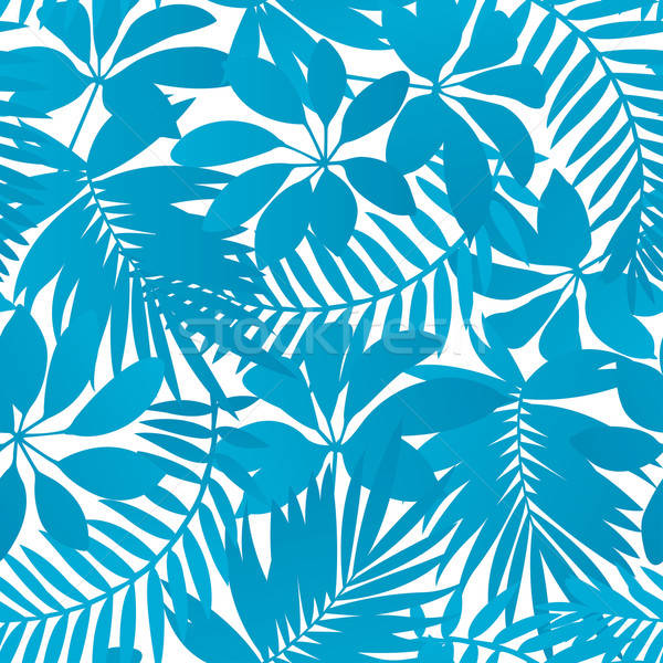 Stock photo: Blue tropical leaves seamless pattern