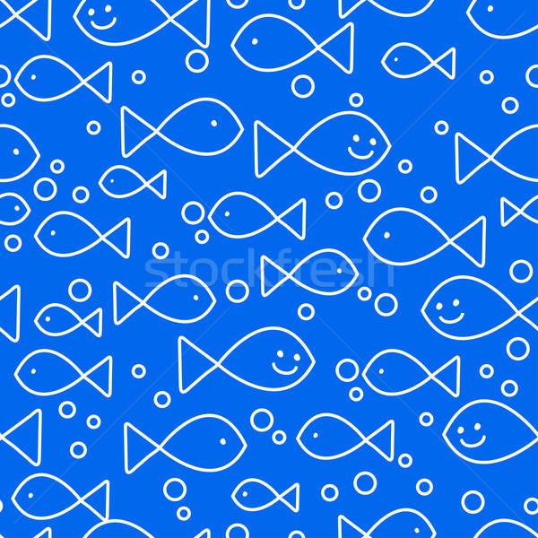 Heureux poissons natation eau sourire Photo stock © adamfaheydesigns