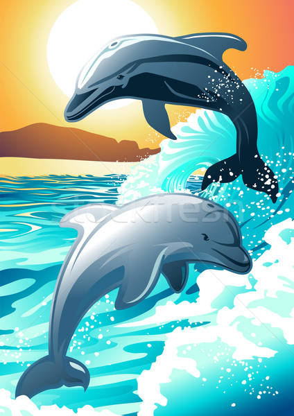 Two dolphin swimming at a beach at sunrise Stock photo © adamfaheydesigns