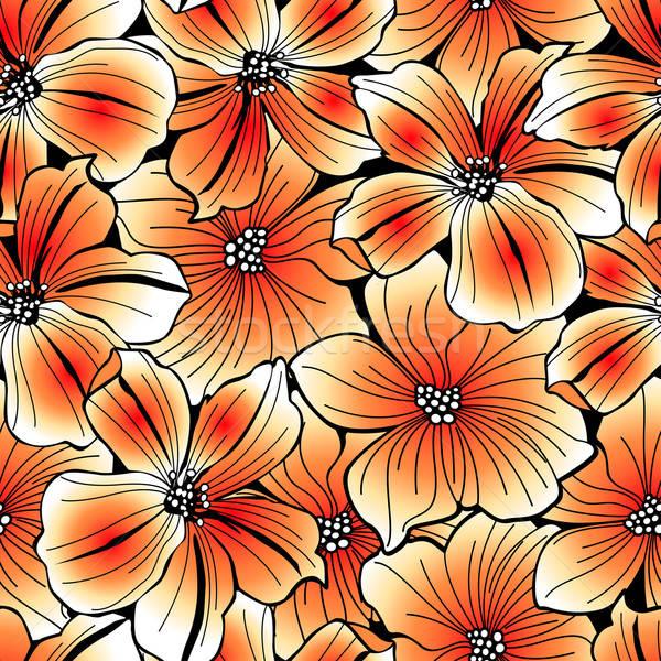 Brillante naranja gráfico hibisco flor Foto stock © adamfaheydesigns