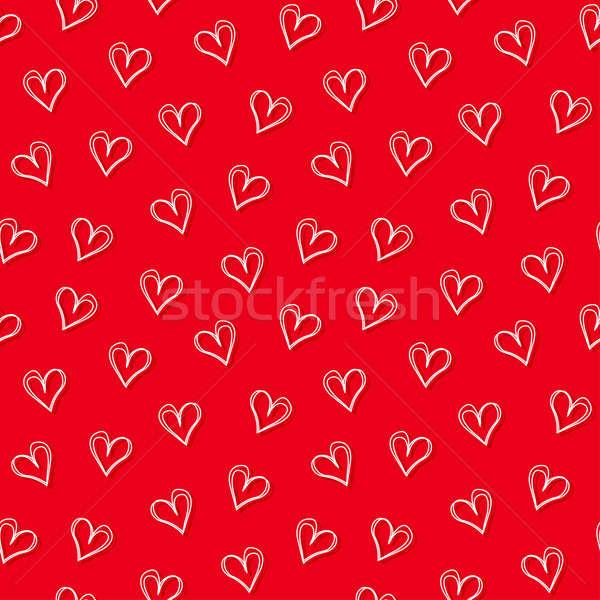 Stock fotó: Fehér · szeretet · szívek · piros · végtelen · minta · rajz