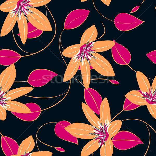 Narancs hibiszkusz virágok levelek végtelen minta divat Stock fotó © adamfaheydesigns