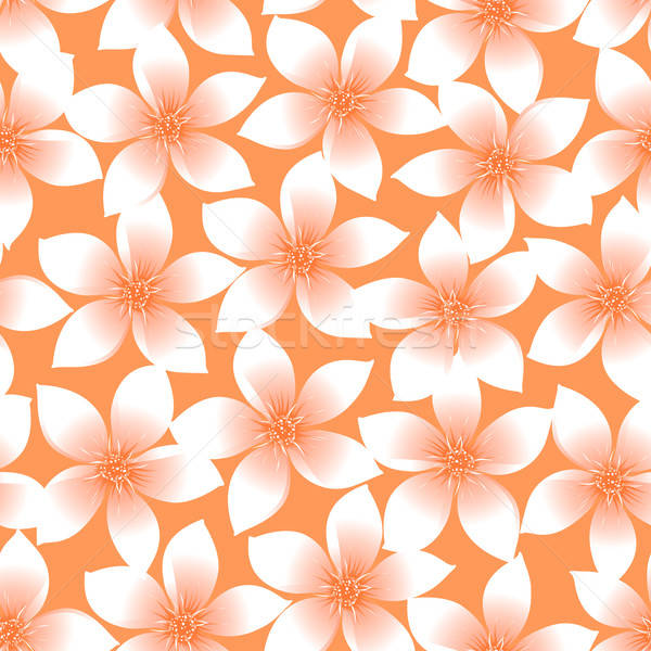 Orange tropical Plumeria and Hibiscus floral seamless pattern Stock photo © adamfaheydesigns