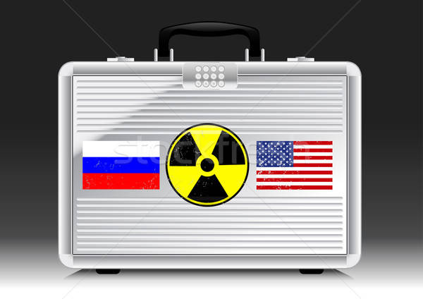 Silver suitcase nuke with flags of RUSSIA and USA Stock photo © adamfaheydesigns