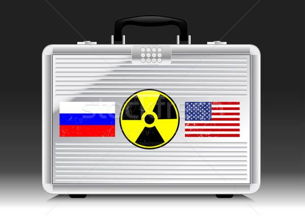 Zilver koffer atoombom vlaggen Rusland USA Stockfoto © adamfaheydesigns